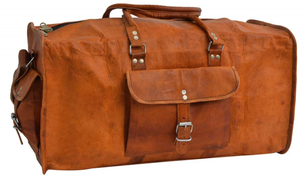 Braune Ziegenleder Reisetasche mit Außentaschen
