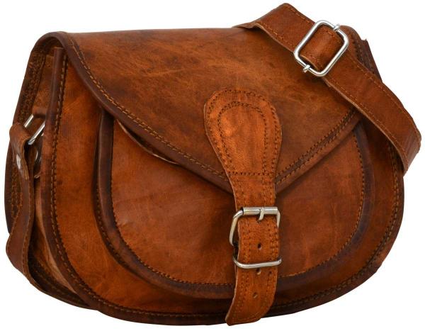 Halbrunde Ziegenleder Handtasche in braun