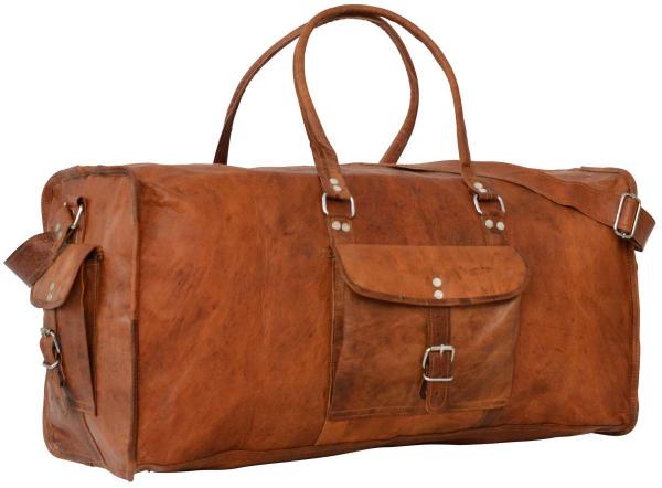 Ziegenleder Reisetasche mit Außentaschen