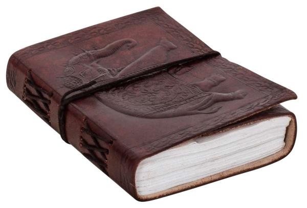 Kleines Notizbuch mit Rindsleder-Einband und Elefanten-Motiv