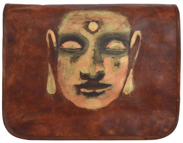 Ziegenleder-Tasche mit Buddha-Motiv
