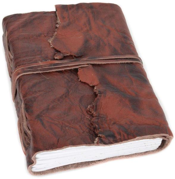 Buch mit braunem Büffelleder-Einband