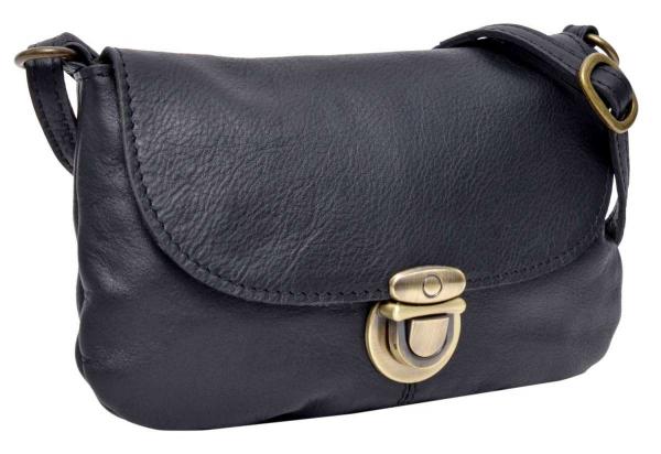 Kleine Leder-Handtasche zum Umhängen in schwarz