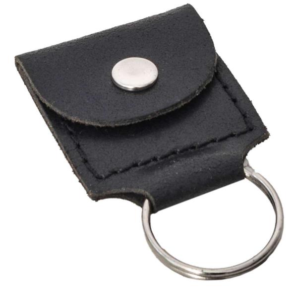 Schwarzer Leder-Schlüsselanhänger mit kleiner Tasche