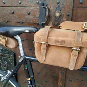 Gusti Rene P Leather Bicycle Handlebar Bag with Klickfix Adaptor Brown