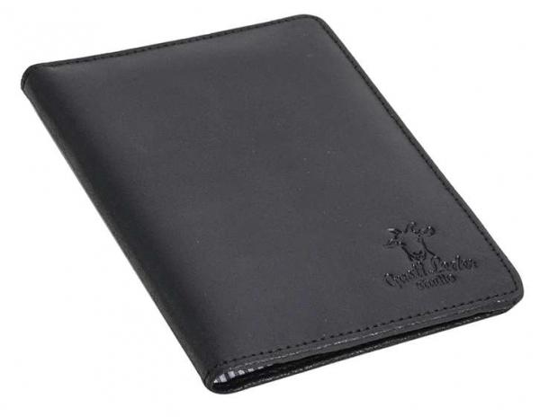 Schwarze Passhülle aus Rindsleder