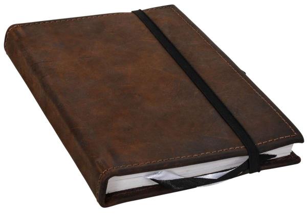 Notizbuch mit braunem Büffelleder-Einband