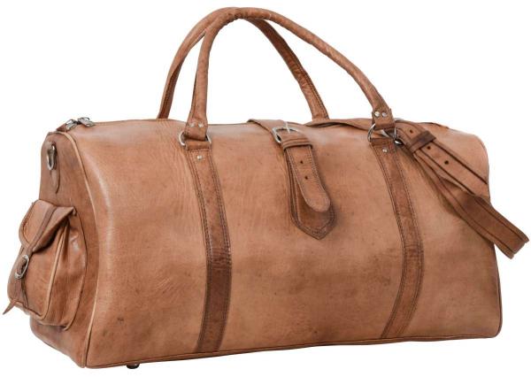 Helle Rindsleder Reisetasche mit Seitentaschen