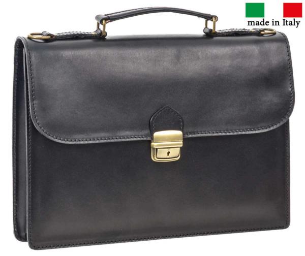 Schwarze Leder-Aktentasche mit Schnappschloss