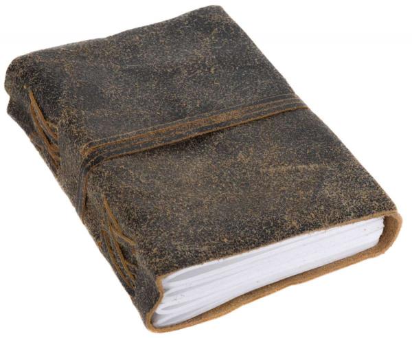 Kleines Notizbuch mit braunem Ledereinband