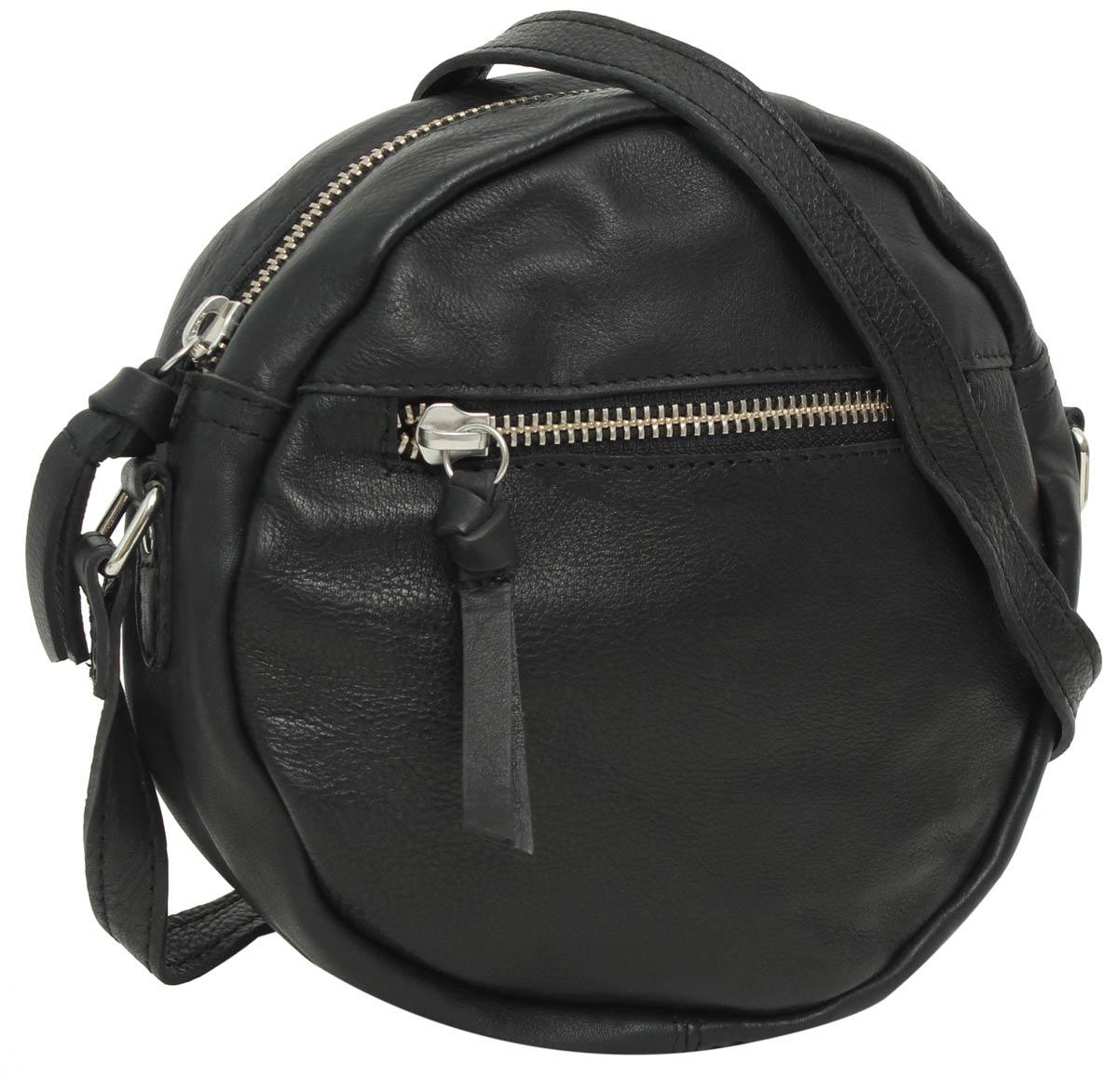 save off b0ea5 5bec1 Umhängetasche Ledertasche Handtasche rund Round-Cross Tasche Schwarz Leder.  Gusti Leder studio
