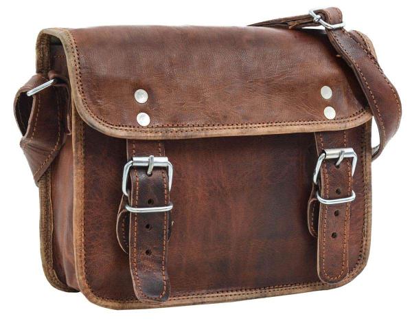 Braune Ziegenleder Handtasche zum Umhängen