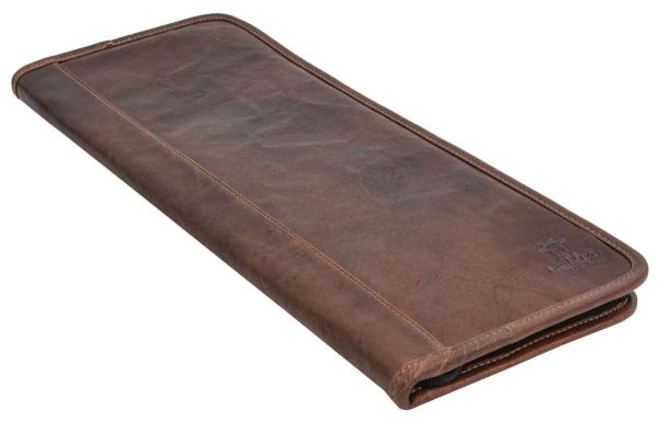 Braune Krawattenhülle aus Büffelleder