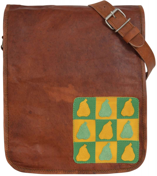 Ziegenleder-Handtasche mit Birnen-Schachmuster