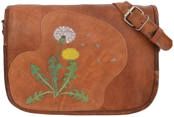 Ziegenleder-Handtasche mit Löwenzahn-Motiv