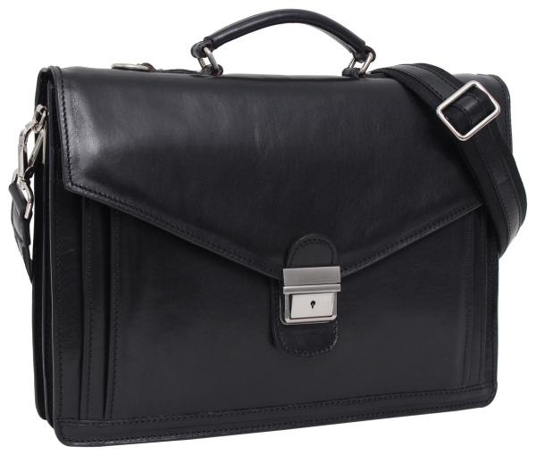 Schwarze Businesstasche aus italienischem Leder