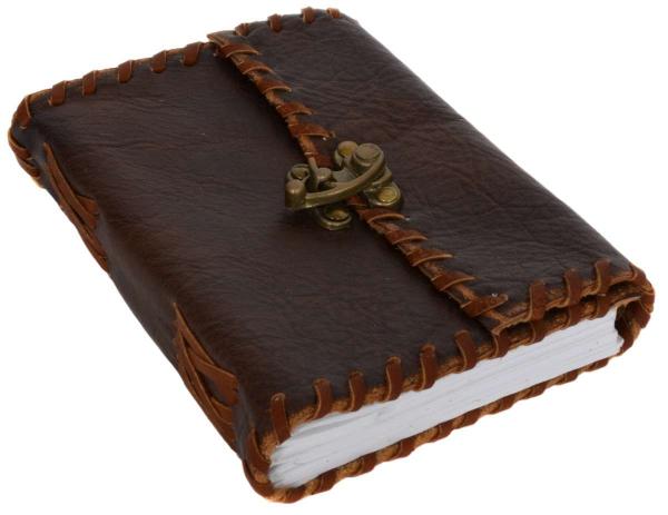 Büffelleder Notizbuch mit Hakenverschluss