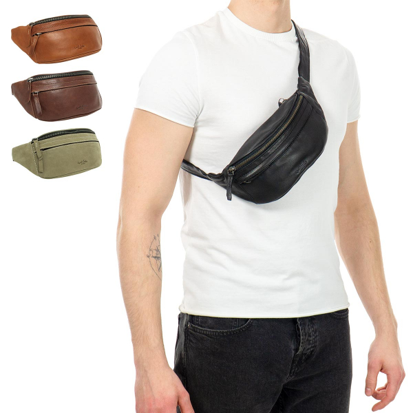 "Gusti Cuir studio /""Spencer/"" sacoche banane en cuir pochette banane sac banane sac ceinture banane homme femme cuir de buffle marron clair 2G7-22-5"