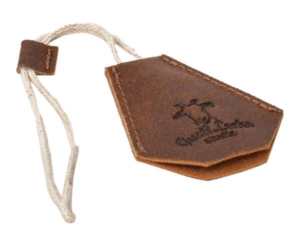 Hellbrauner Leder-Schlüsselanhänger mit Schutz