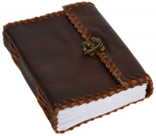 B6 Notizbuch mit Ledereinband und abgesetzten Ziernähten
