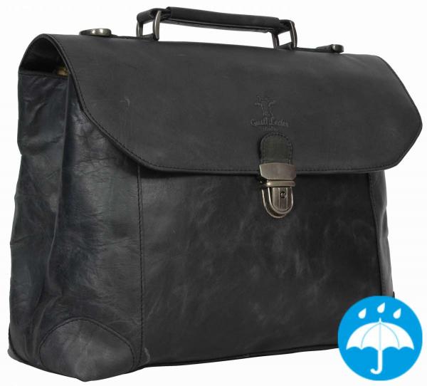 Schwarze Leder-Businesstasche