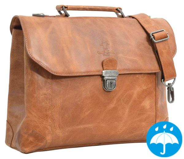Hellbraune Leder-Businesstasche mit Schnappschloss