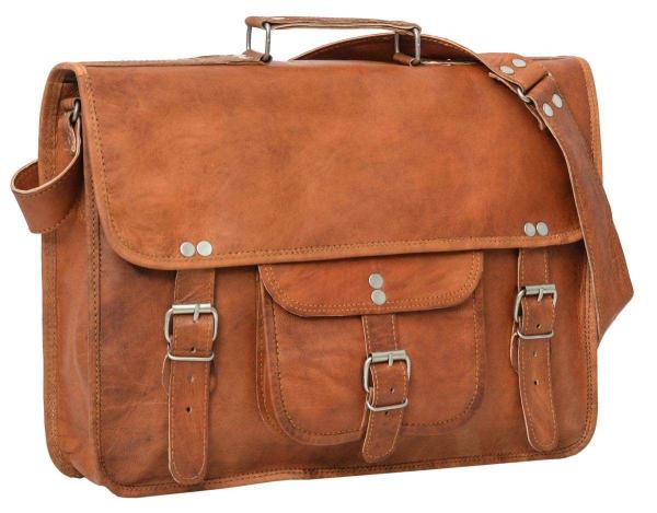 Vintage Collegetasche mit Außenfach und Schnallenverschlüssen