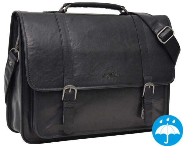 Schwarze Lederaktentasche