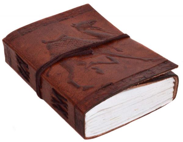 Kleines Leder-Notizbuch mit Kamel-Motiv