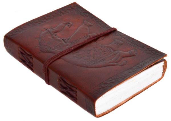 Ledergebundenes Buch mit Elefanten-Motiv