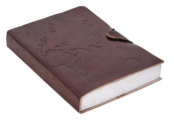 Rindsleder Notizbuch mit Weltkarten-Motiv