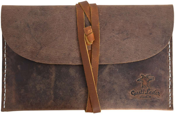 Braune Leder-Tablethülle mit Lederband-Verschluss