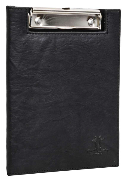 Aufklappbares Leder-Klemmbrett in schwarz