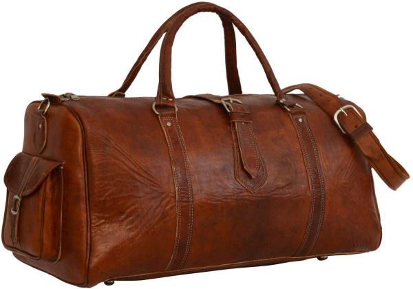 Rotbraune Vintage-Reisetasche aus Rindsleder