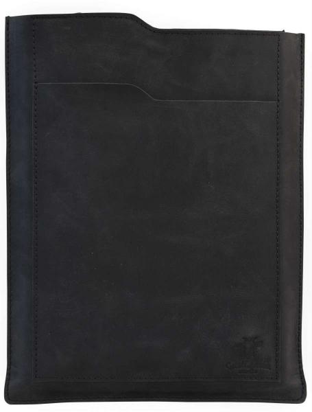 Schwarze MacBook-Hülle aus Büfelleder