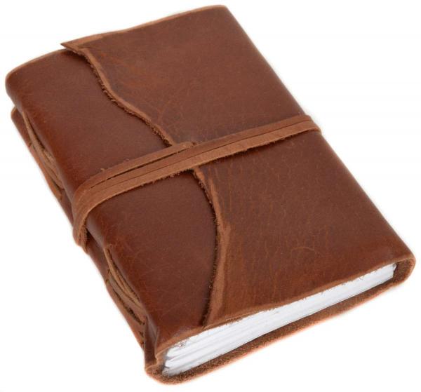 Braunes Büffelleder-Buch mit Lederband
