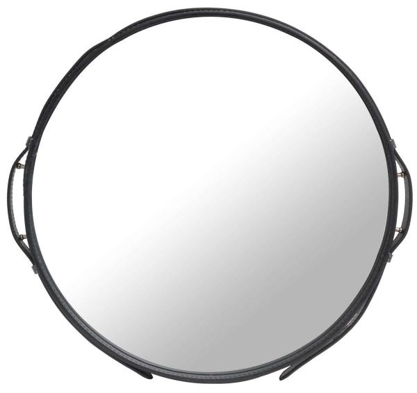 Spiegel mit schwarzem Lederband