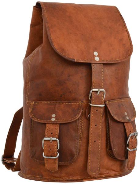 Ziegenleder Rucksack mit Außentaschen