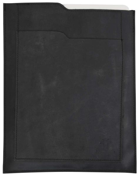 Schwarze Büffellederhülle für MacBook Air