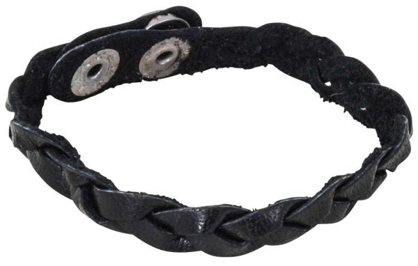 Geflochtenes schwarzes Lederarmband mit Druckknopf