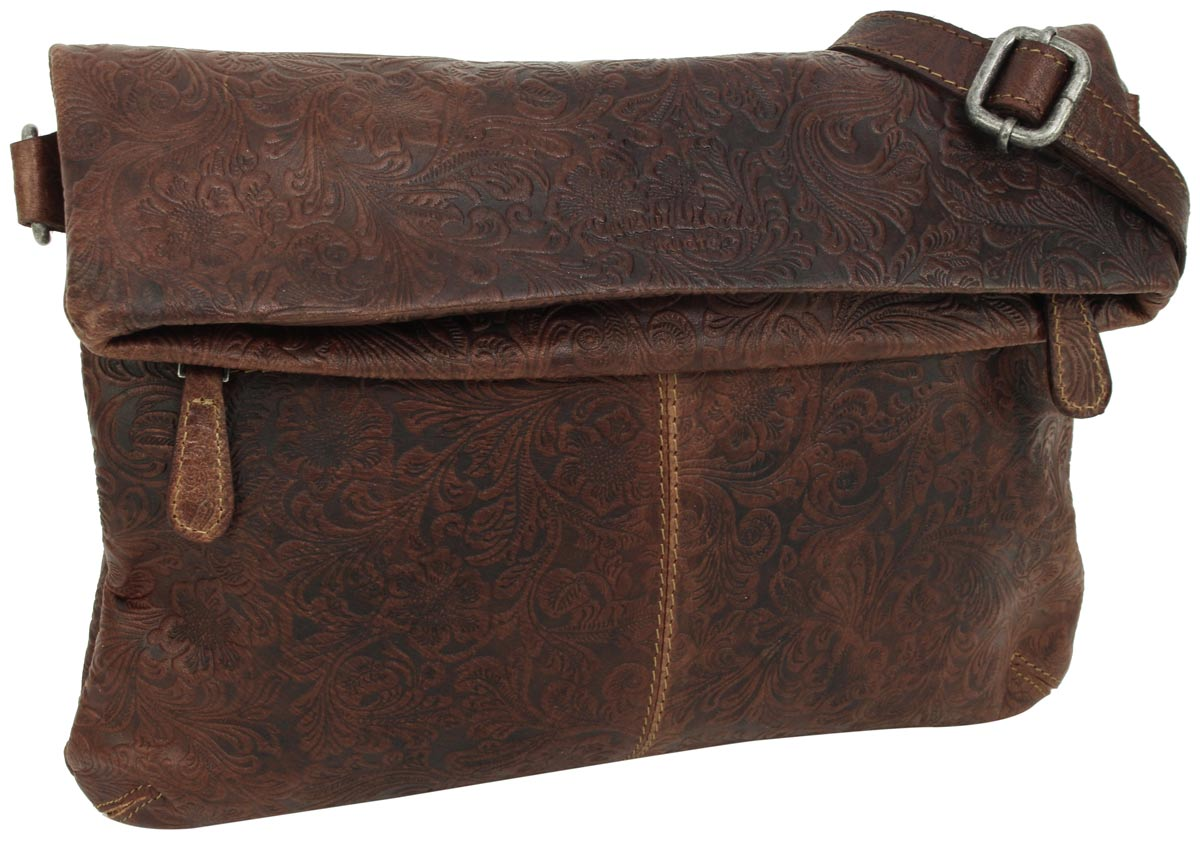 ab64af41c1 Borsa a tracolla borsa a mano pochette in pelle marrone vintage - Scarlett