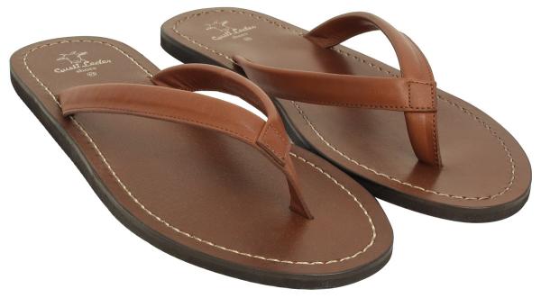 Braune Leder-Flip Flops