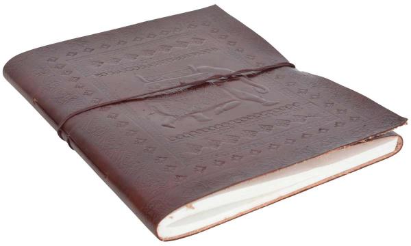 Skizzenbuch mit Rindsleder-Einband und Elefanten-Motiv