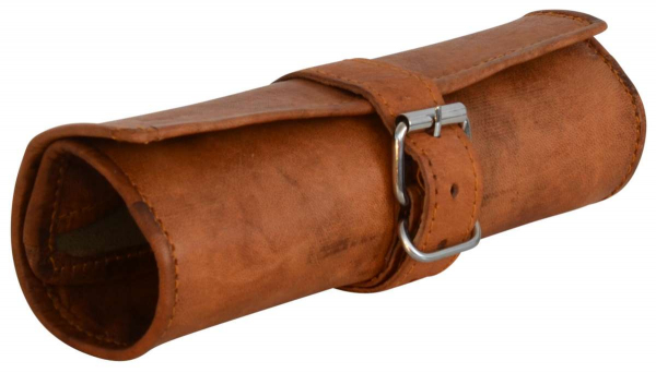 Roll-Federtasche aus Ziegenleder mit Schnalle