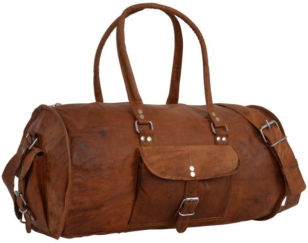 Runde Ziegenleder Reisetasche in braun